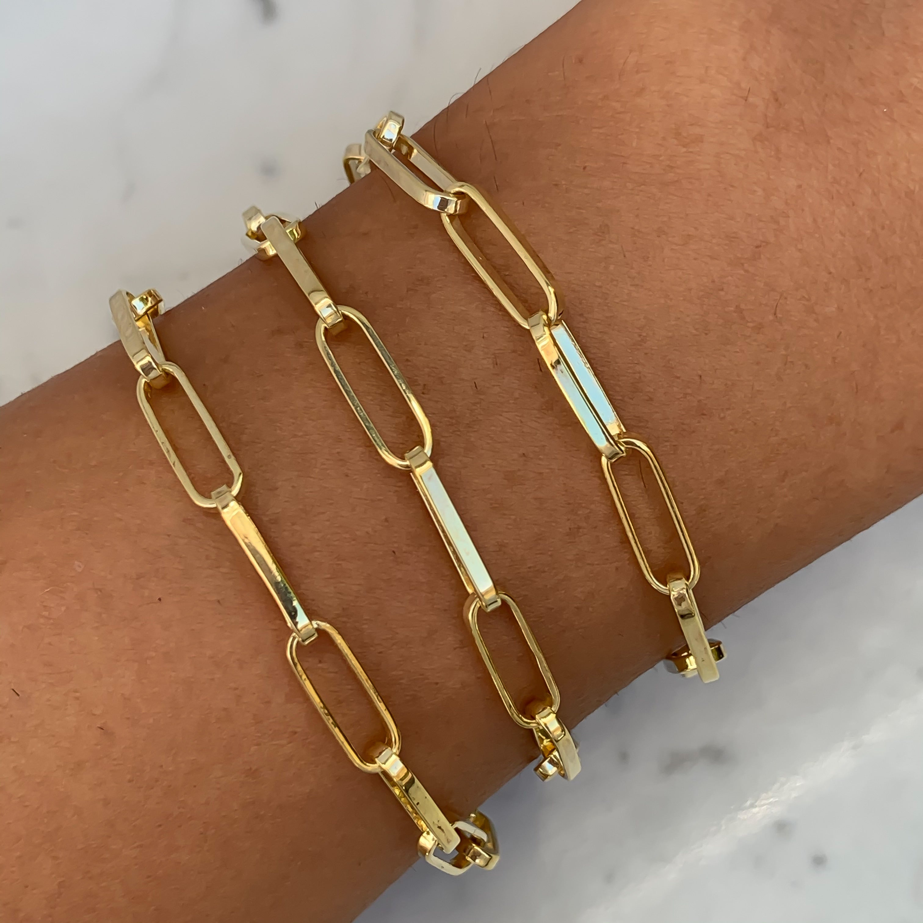 Silver gold plated paperclip chain bracelet