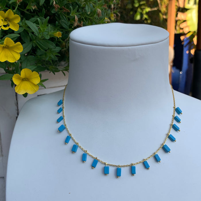 Silver gold plated turquoise drop shaker necklace