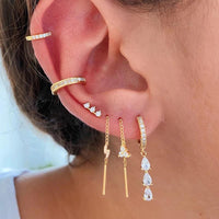 Sterling silver gold plated tear drop dangling huggie earrings