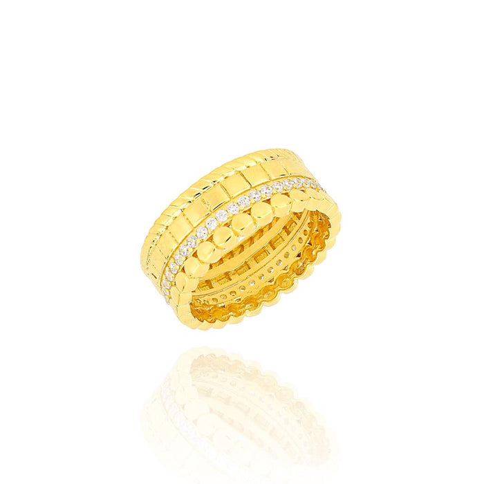 Silver 18k gold plated multiband ring