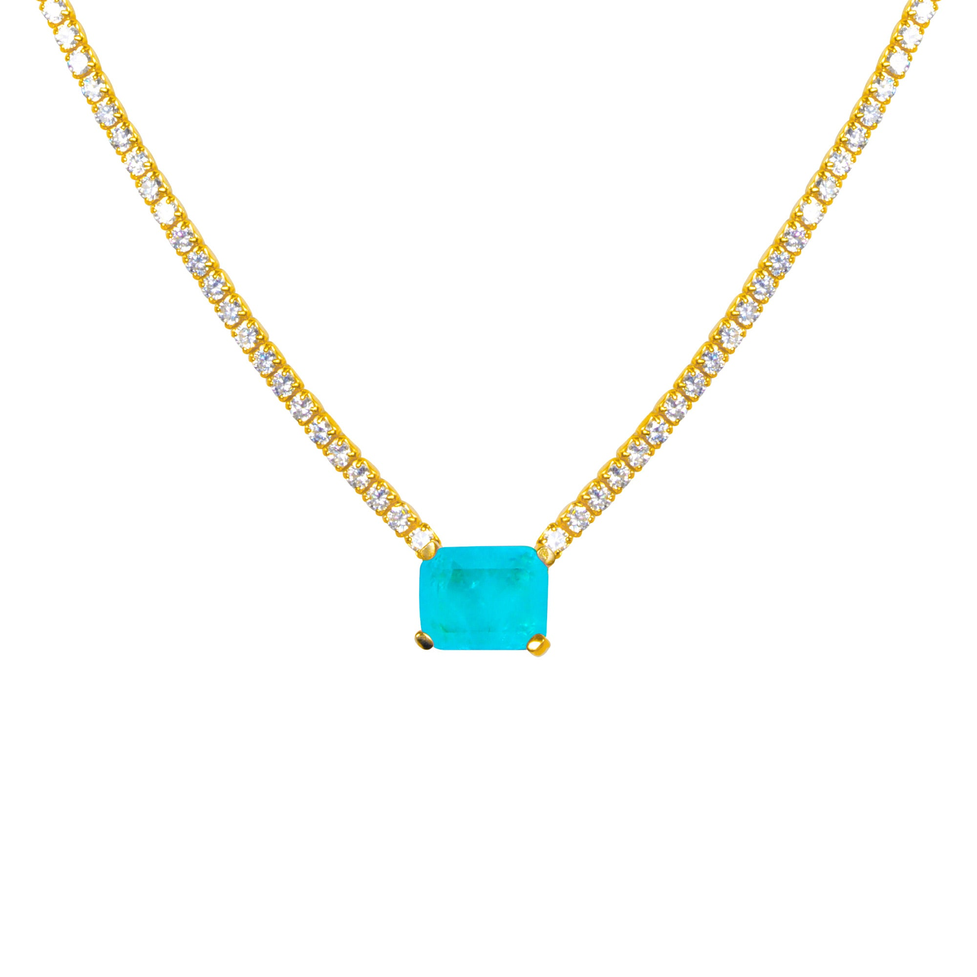 """Duchess"" Sterling silver gold plated paraiba necklace"