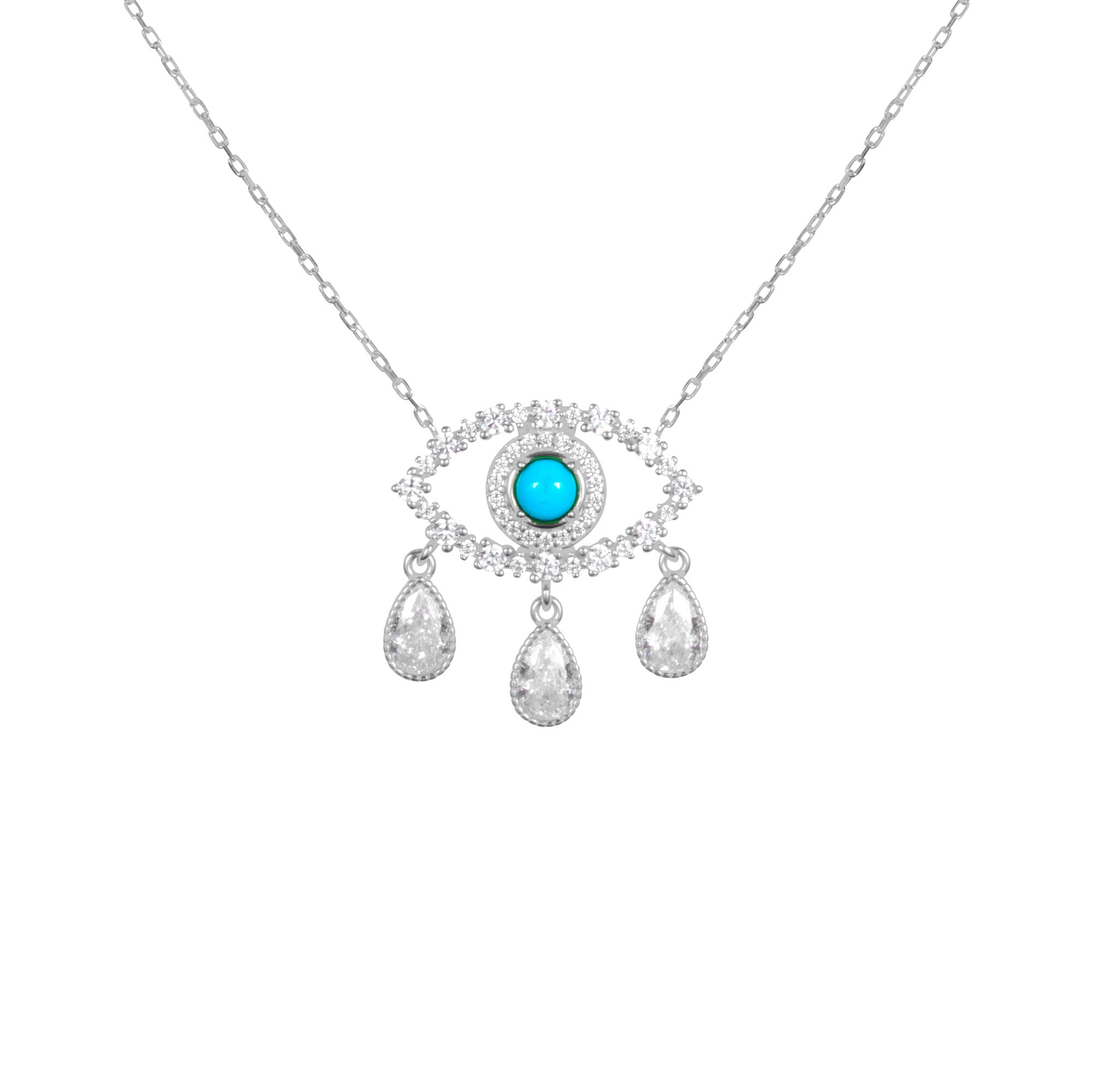 "Sterling silver ""Diamond Tears"" eye necklace"