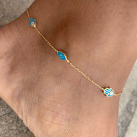 Silver gold plated blue eye & hamsa anklet