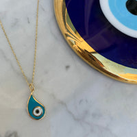 "Silver gold plated paisley turquoise ""Nazar"" eye necklace"
