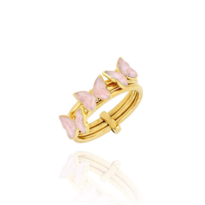 Silver gold plated blush pink triple butterfly ring