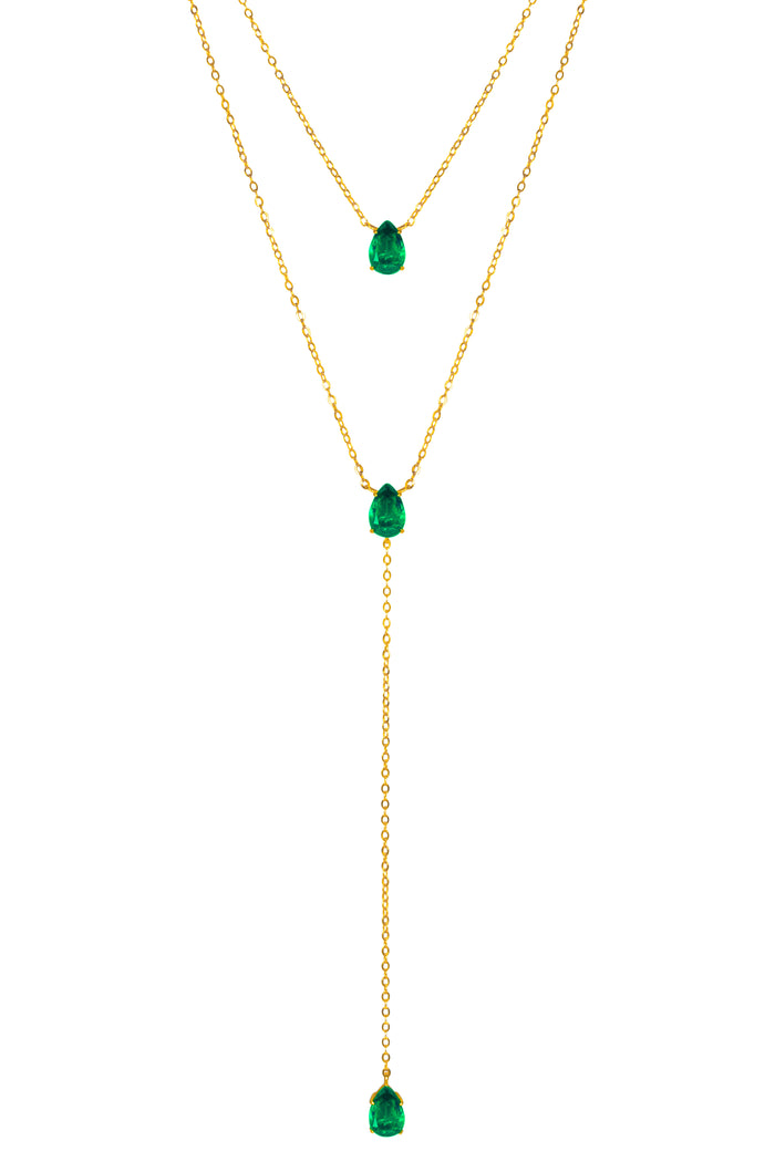 PRE-ORDER Silver gold plated emerald lariat necklace set