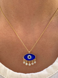 Sterling silver gold plated link, pearl and dangling eye necklace