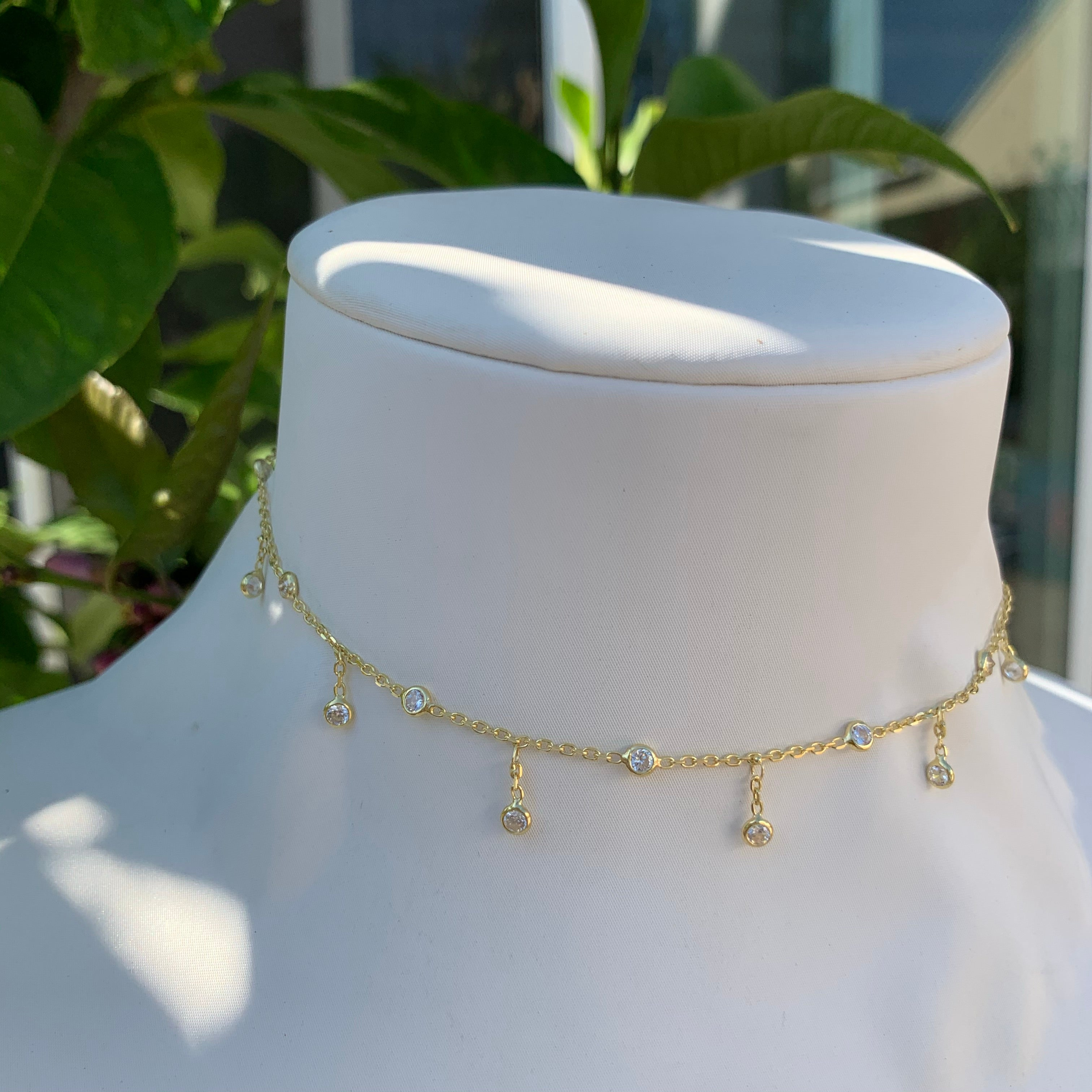 Sterling Silver gold plated dainty drop choker