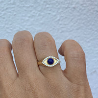 Silver 18k gold plated lapis lazuli eye ring