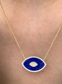 Lapis lazuli stone eye shaped necklace