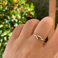 Sterling silver gold plated delicate eye ring