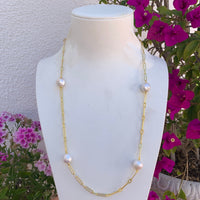 Silver gold plated long natural pearl chain necklace