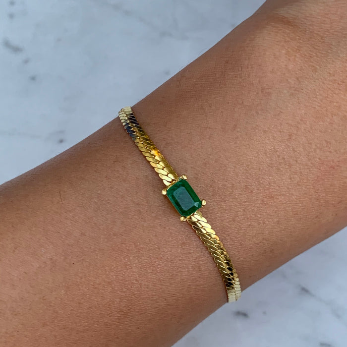 Silver gold plated emerald herringbone bracelet