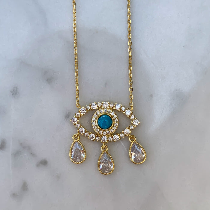 "Silver gold plated ""Diamond Tears"" eye necklace"