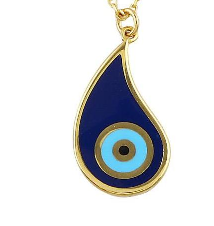 "Silver gold plated paisley blue ""Nazar"" eye necklace"