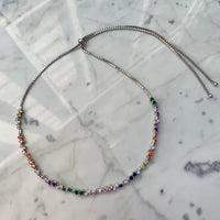 Sterling silver rainbow baguette & round stone choker