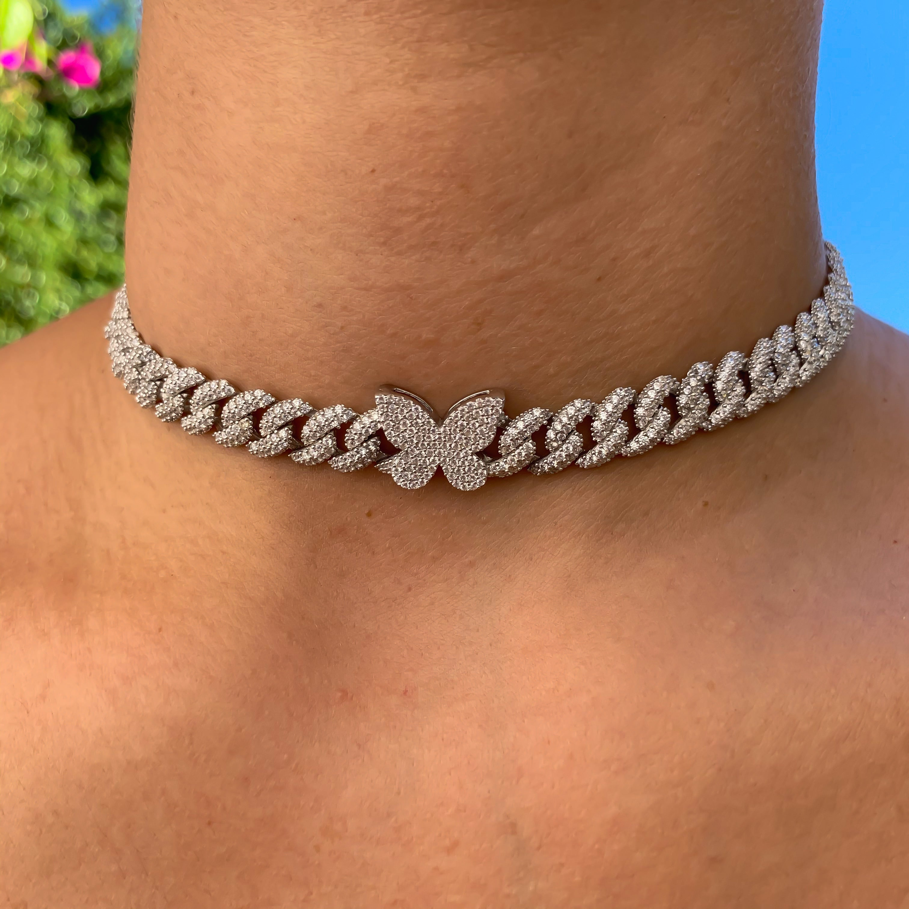 Sterling silver pave cuban link butterfly choker