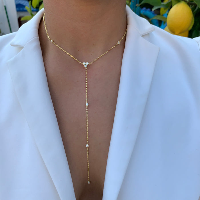 """Mara"" sterling silver gold plated lariat necklace"