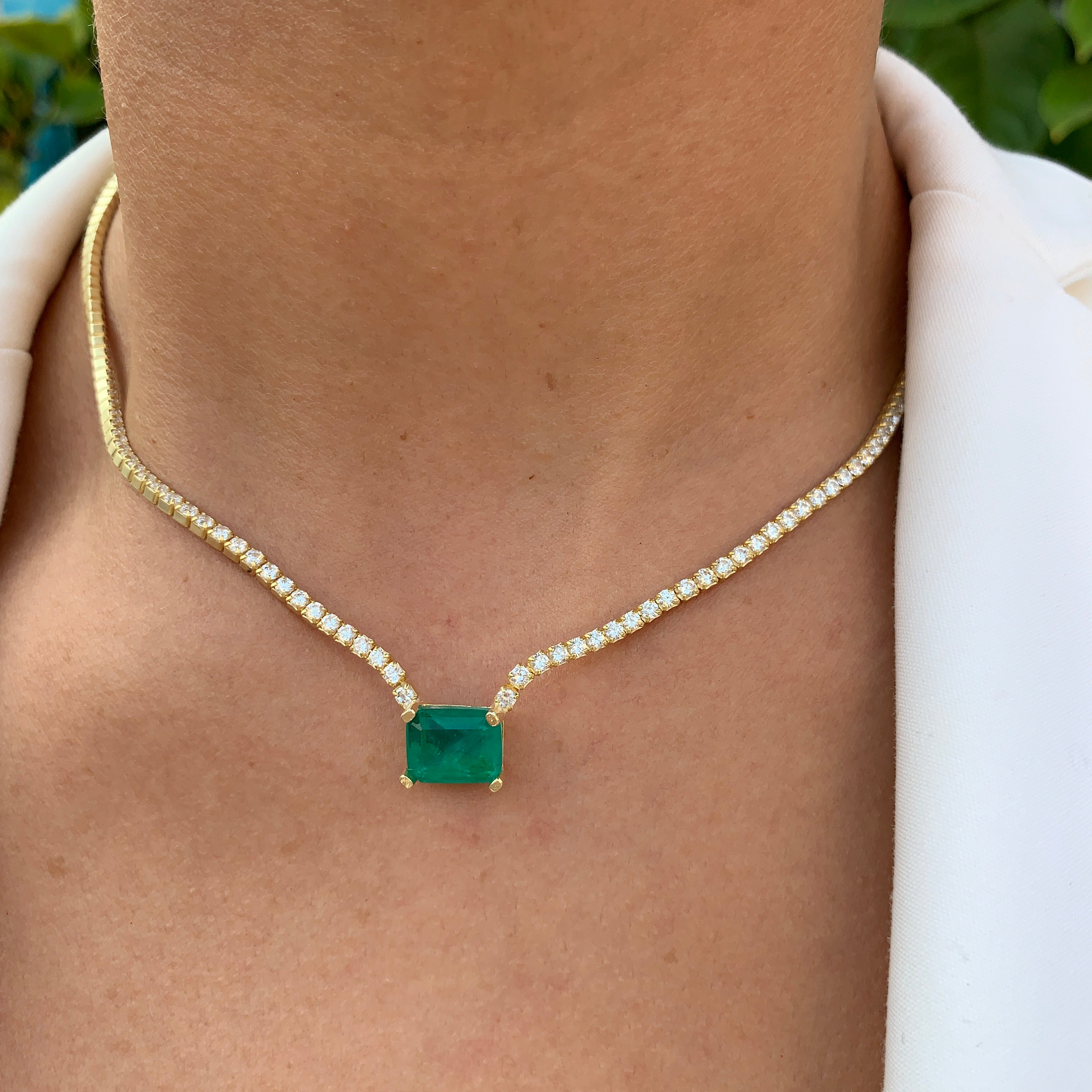 """Duchess"" Sterling silver gold plated emerald necklace"