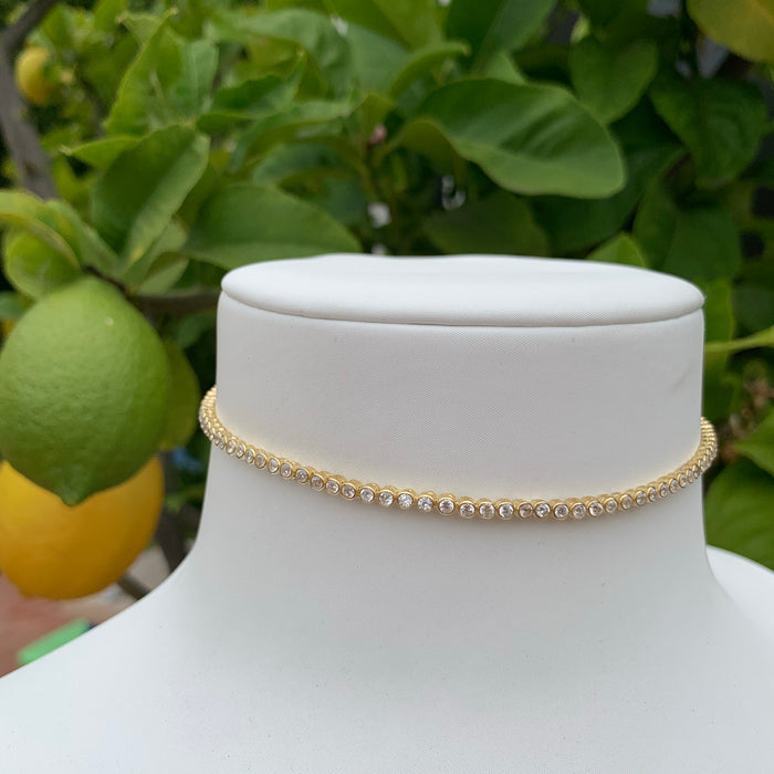 Sterling silver gold plated all around cz diamond choker