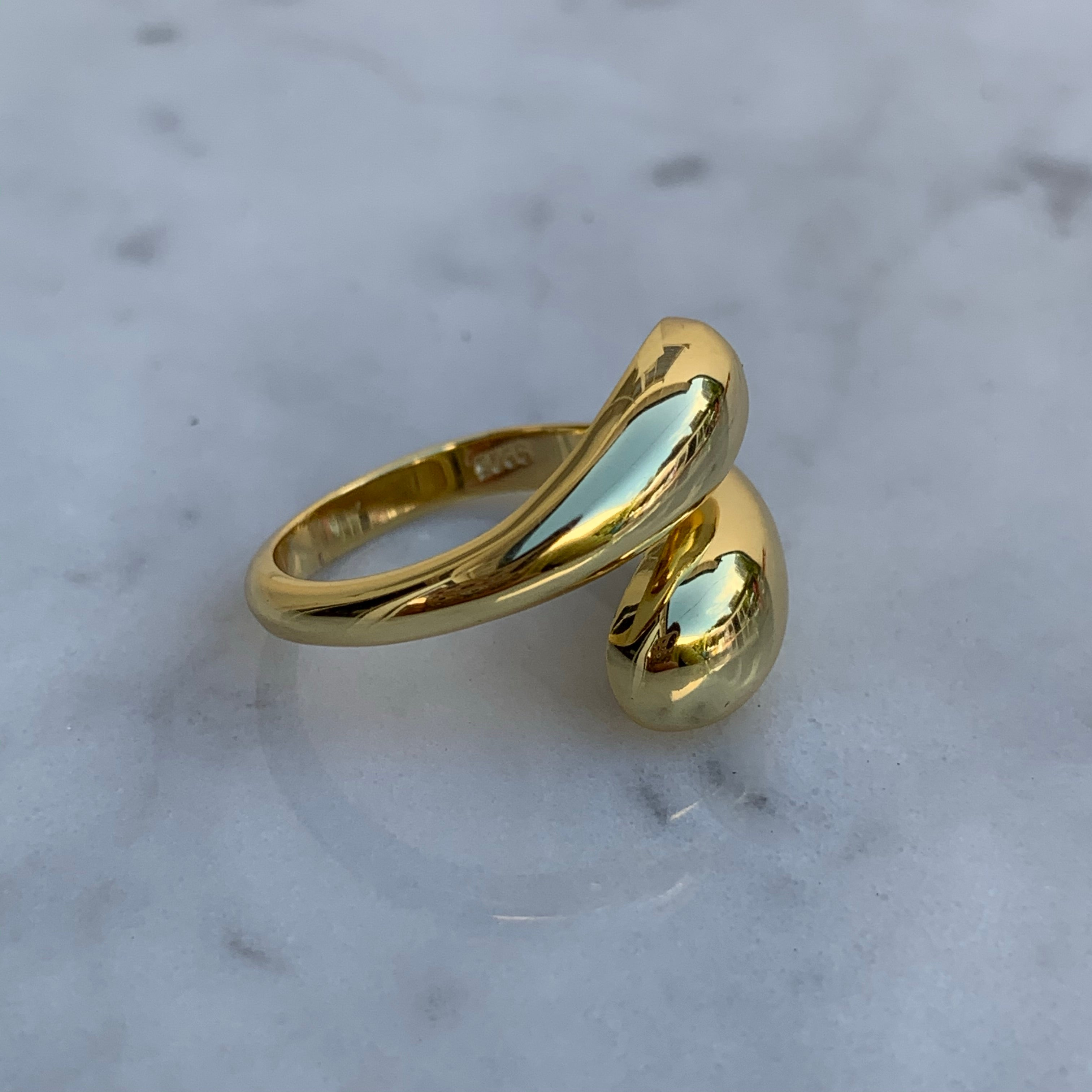 "Silver 18k gold plated ""Nammos"" adjustable ring"