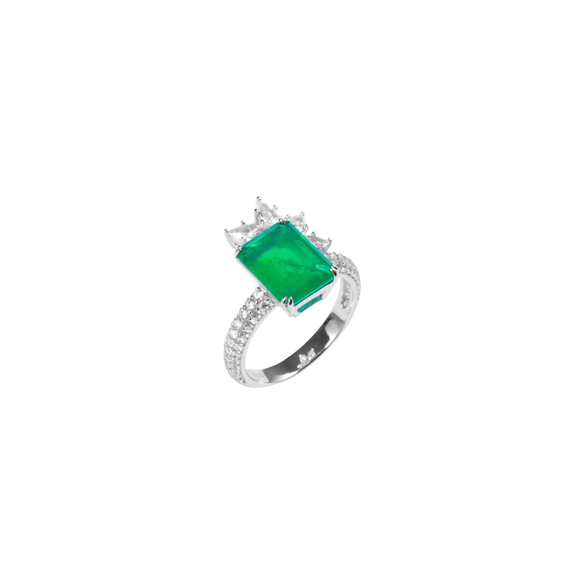 Sterling silver Emerald green crown ring