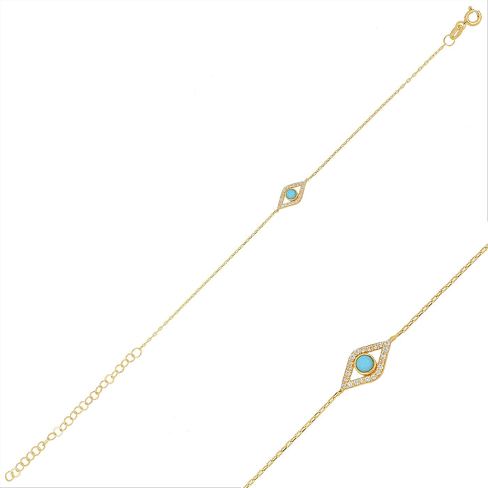 Silver gold plated dainty turquoise eye bracelet