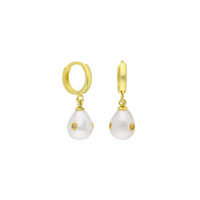 Sterling silver gold plated pearl drop earrings