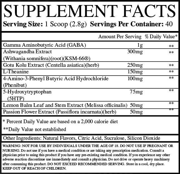LAX Relaxing Agent Biohacking Supplement Ingredients