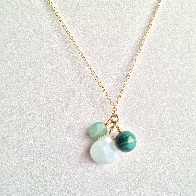 Transformation & Strength ~ Amazonite, Aventurine and Malachite 14k Gold Necklace