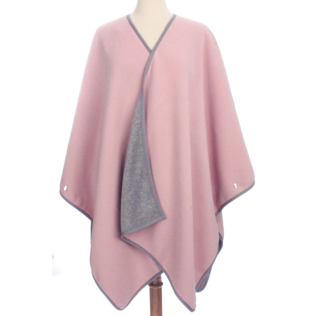 Womens Reversible Fleece Poncho Light Gray / Pink