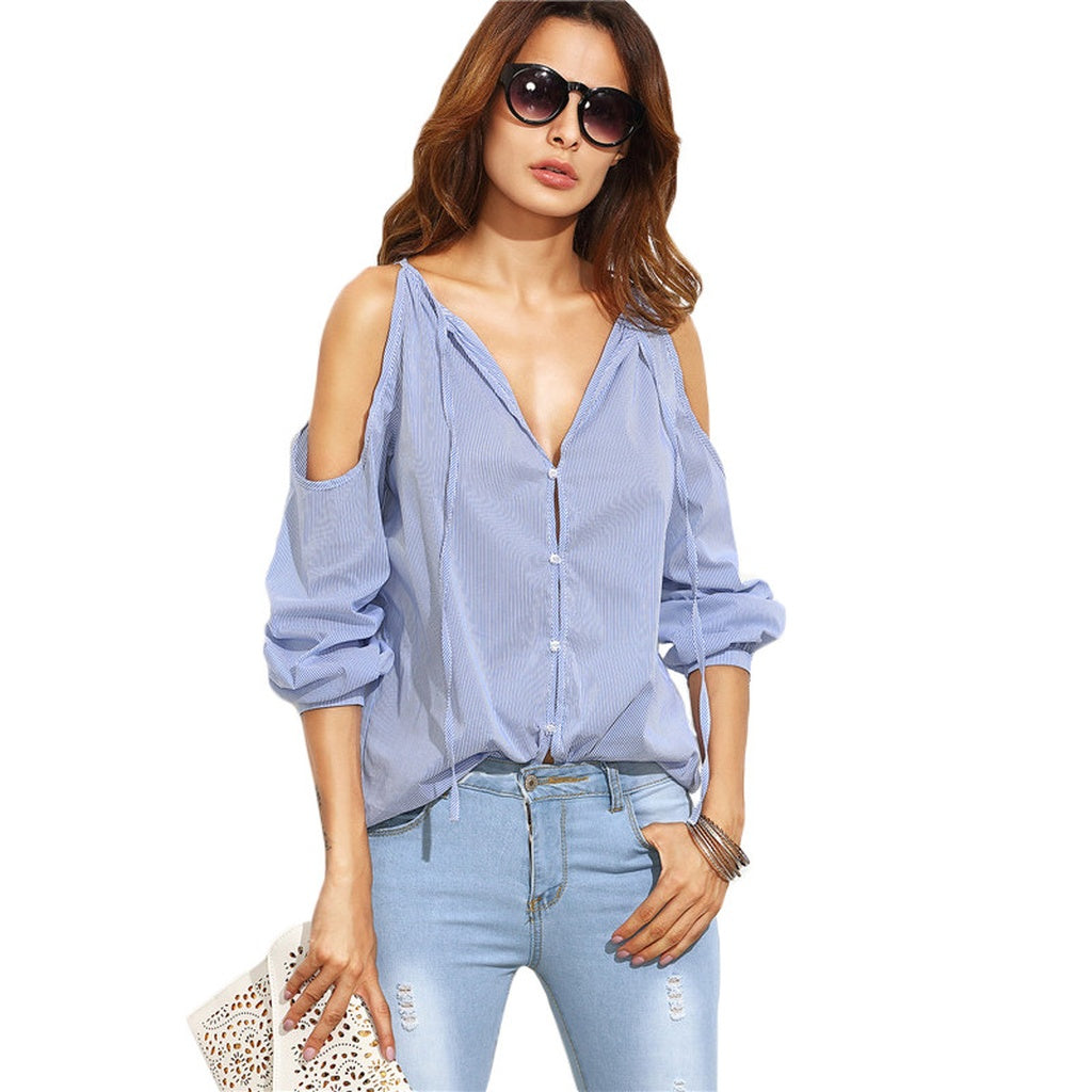 Blue Striped V Neck Cold Shoulder Long Sleeve Blouse