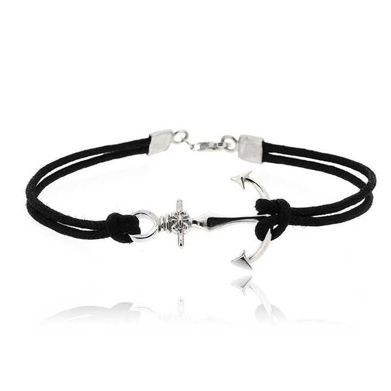 BLACK ANCHOR CORD BRACELET