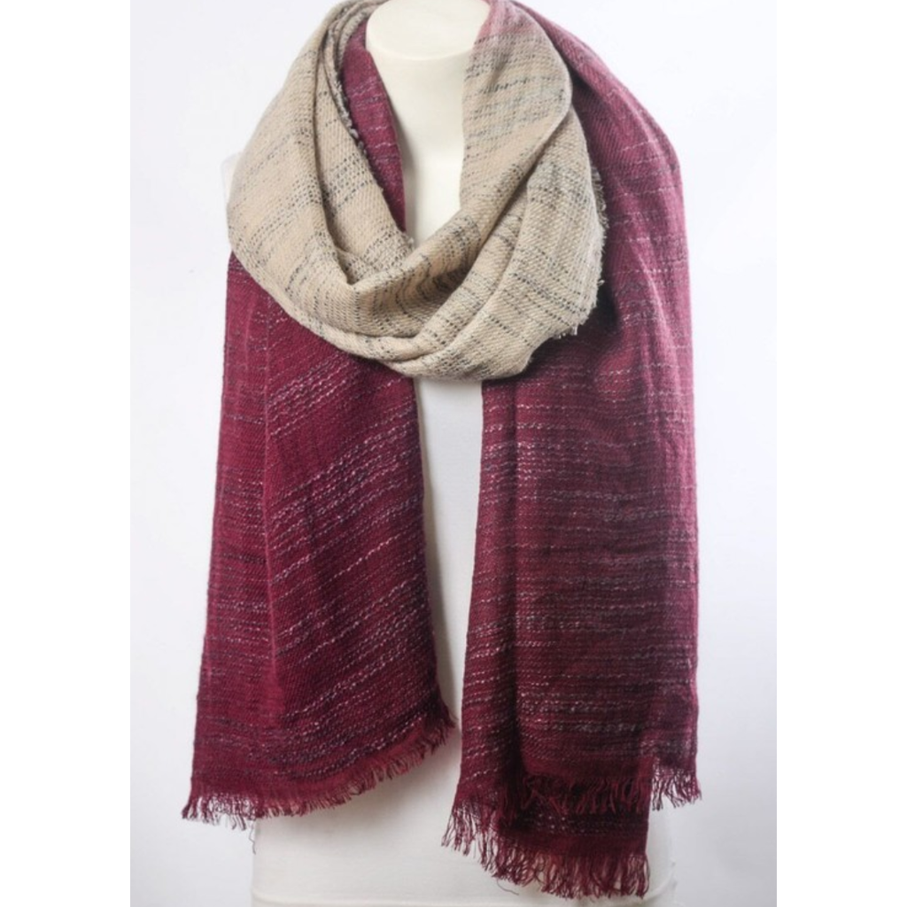 Beautiful Burgundy & Ivory Ombre Winter Long Fringe Scarf