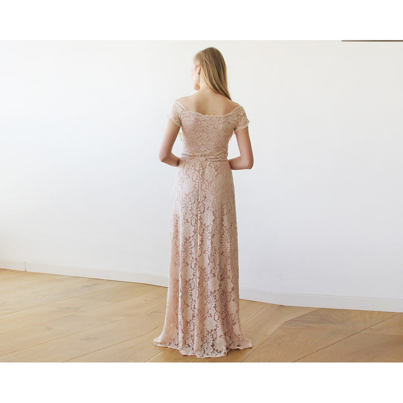 Off-The-Shoulder Blush Pink Short Sleeves Lace Maxi Dress 1142