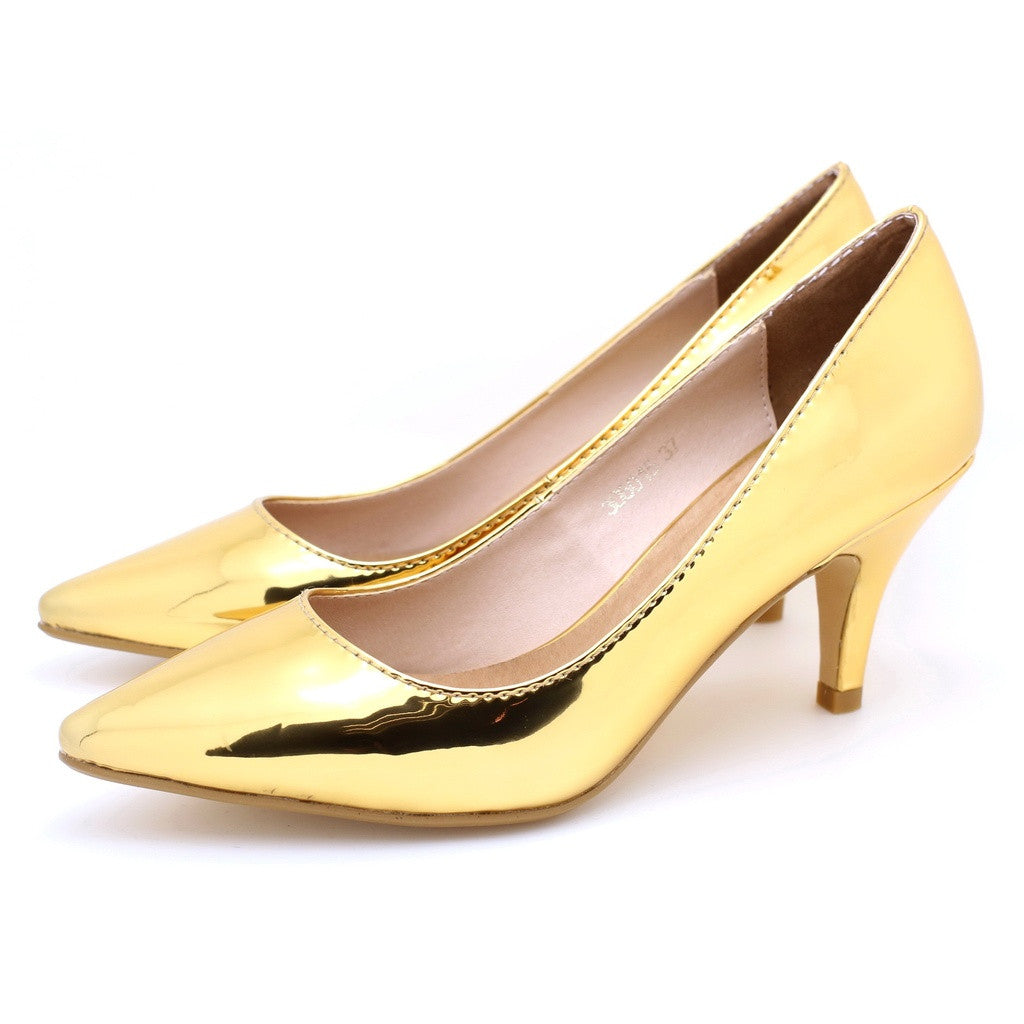 Metallic Pointed Toe Pumps (Gold)