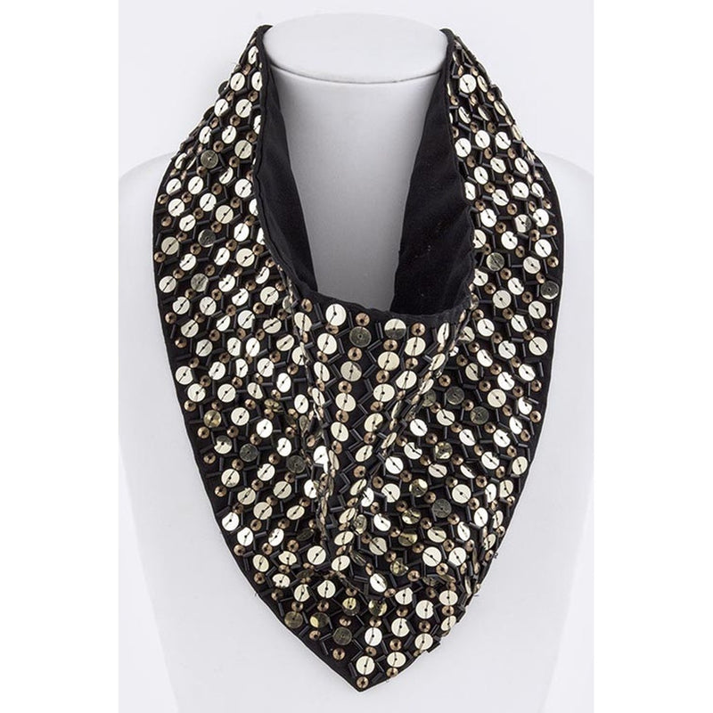 Black & Gold Sequin Triangle Scarf