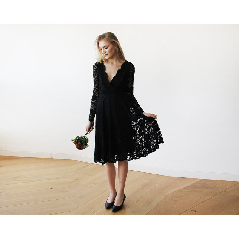 Black Lace Long Sleeve Midi Dress 1161