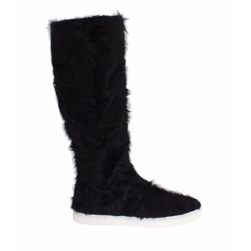 Dolce & Gabbana Black Xiangao Lamb Fur Leather Boots