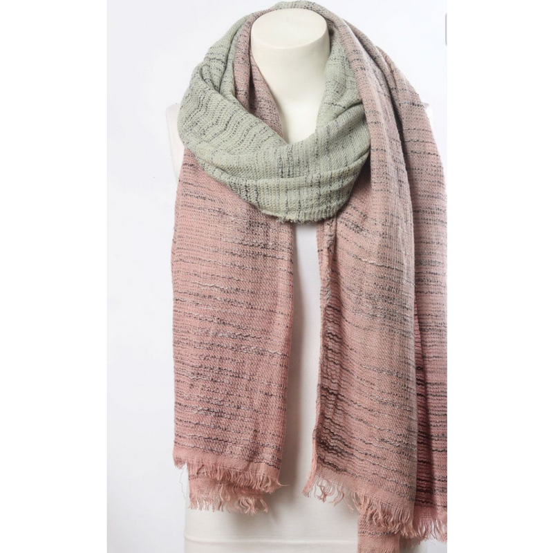 Beautiful Pink & Ivory Ombre Winter Long Fringe Scarf