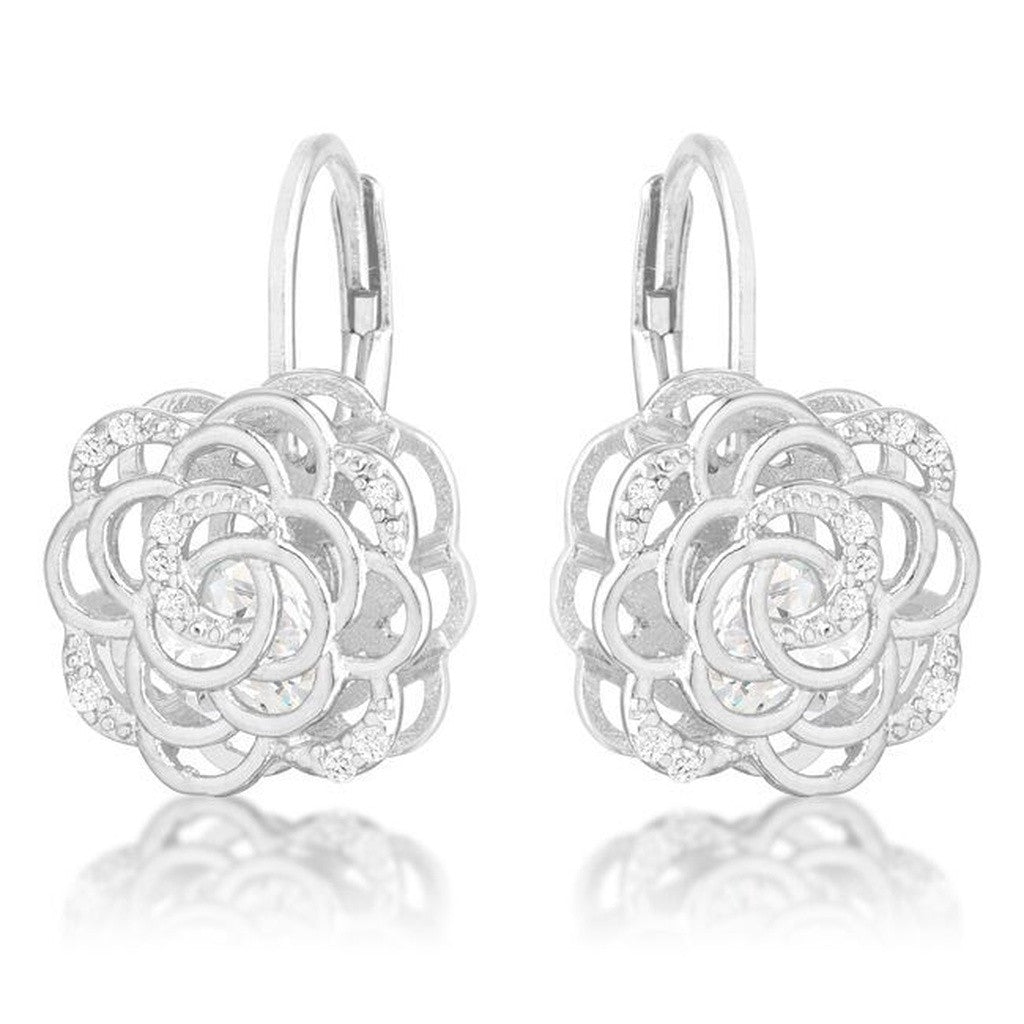 Silver Flower Cage Earrings