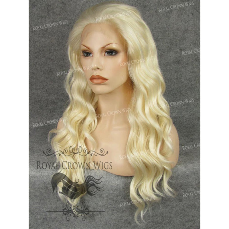 "24"" Synthetic Lace Front with Wave Texture in Platinum Blonde"