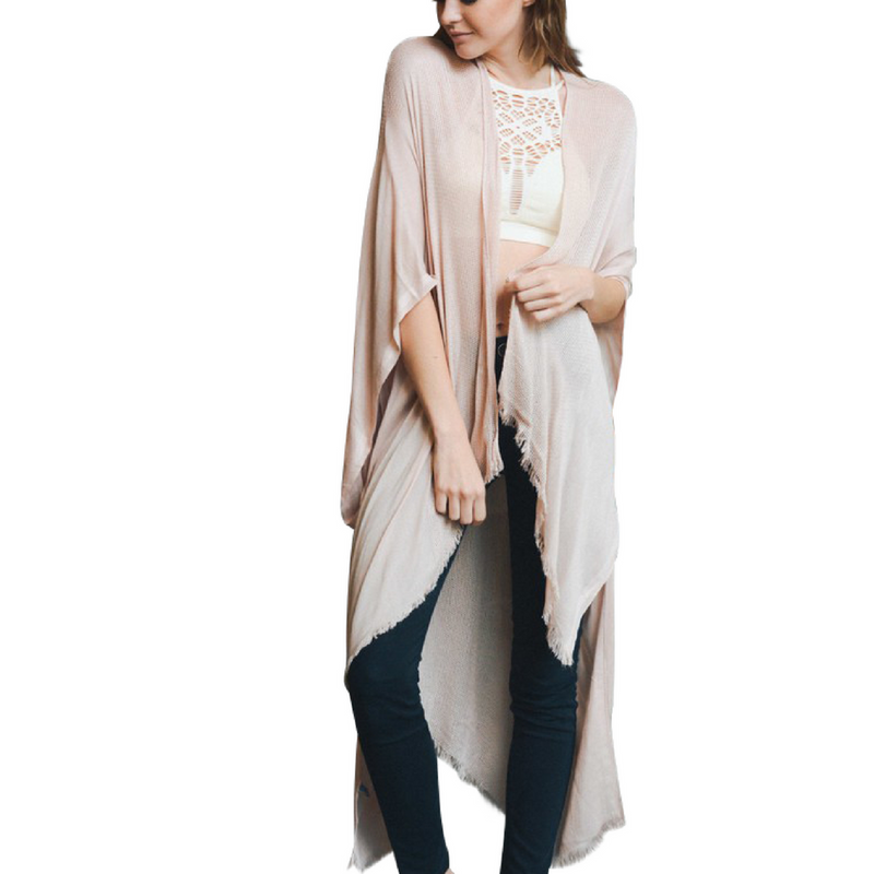 Nude Open Grid Frayed Trim Kimono with Armholes