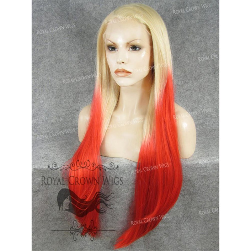 "30"" Heat Safe Synthetic Straight Lace Front ""Hera"" in Blonde To Red Ombre"