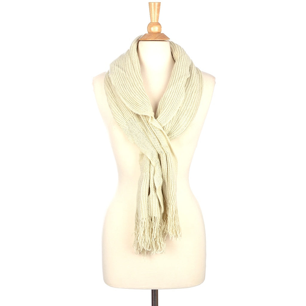 Winter Knit Slit Scarf with Fringe