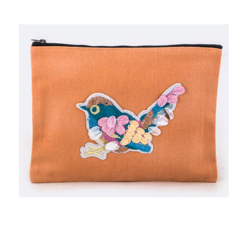 Orange Embroidered Bird Cosmetic Pouch