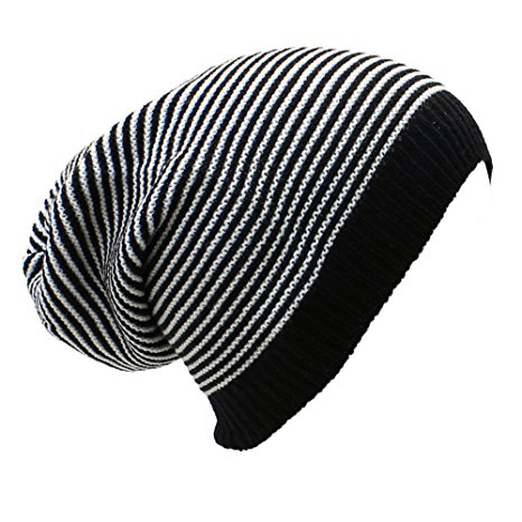 Striped Slouchy Beanie Hat