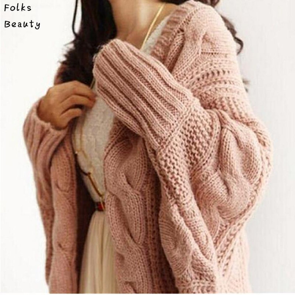 Knitted Long Sleeve Batwing Crochet Cardigan