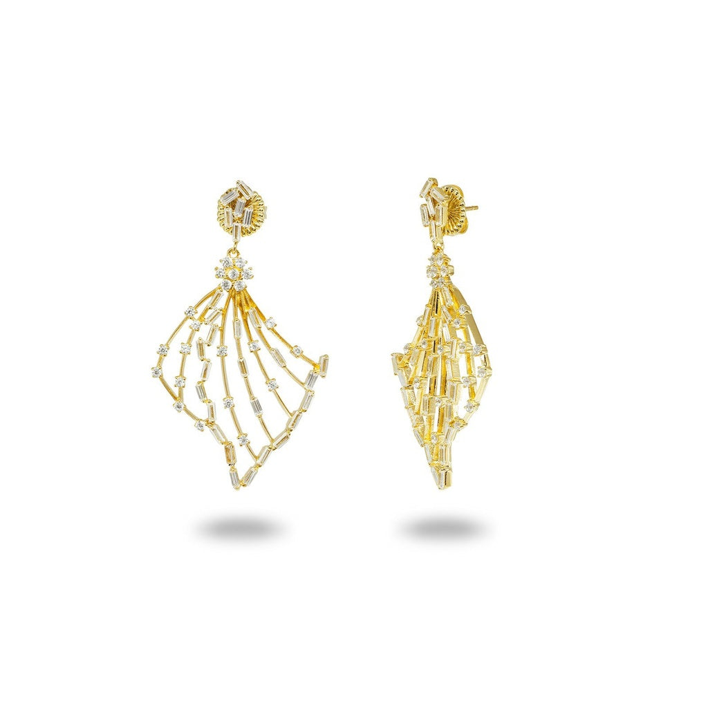 Sparkling Baguette Angel Wings Earrings