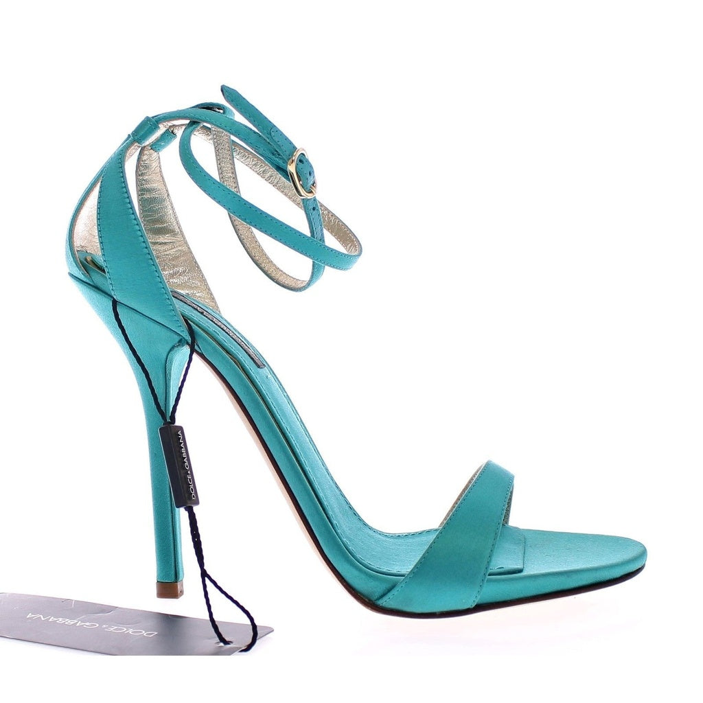 Dolce & Gabbana Blue Silk Ankle Strap Sandals Heels Shoes